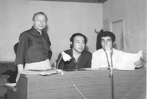 از چپ به راست: علی کسمایی، حسین عرفانی و بهروز وثوقی سر دوبله گوزن ها